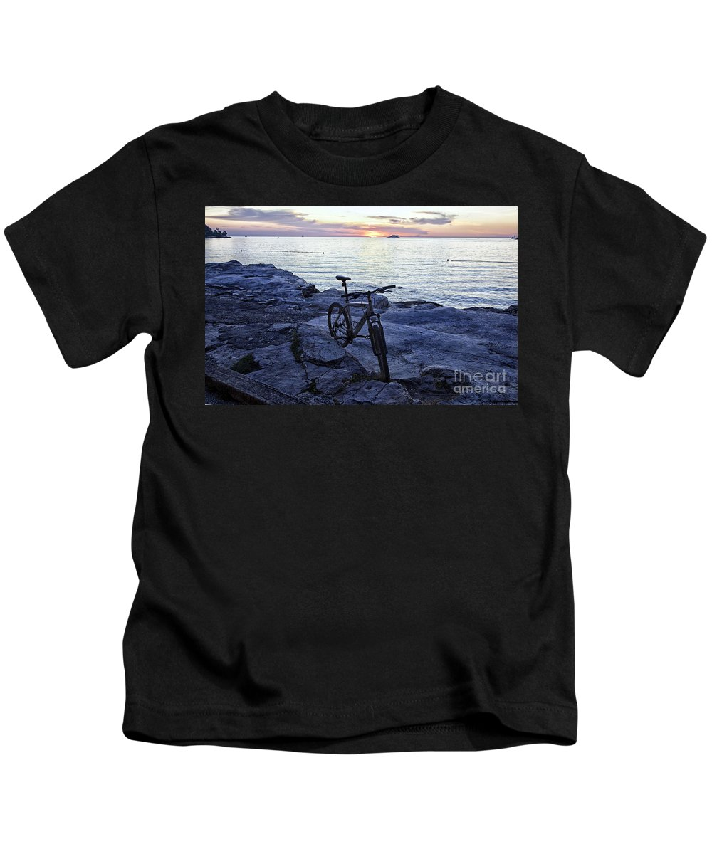 Bike Kids T-Shirt featuring the photograph Journey's End by Madeline Ellis