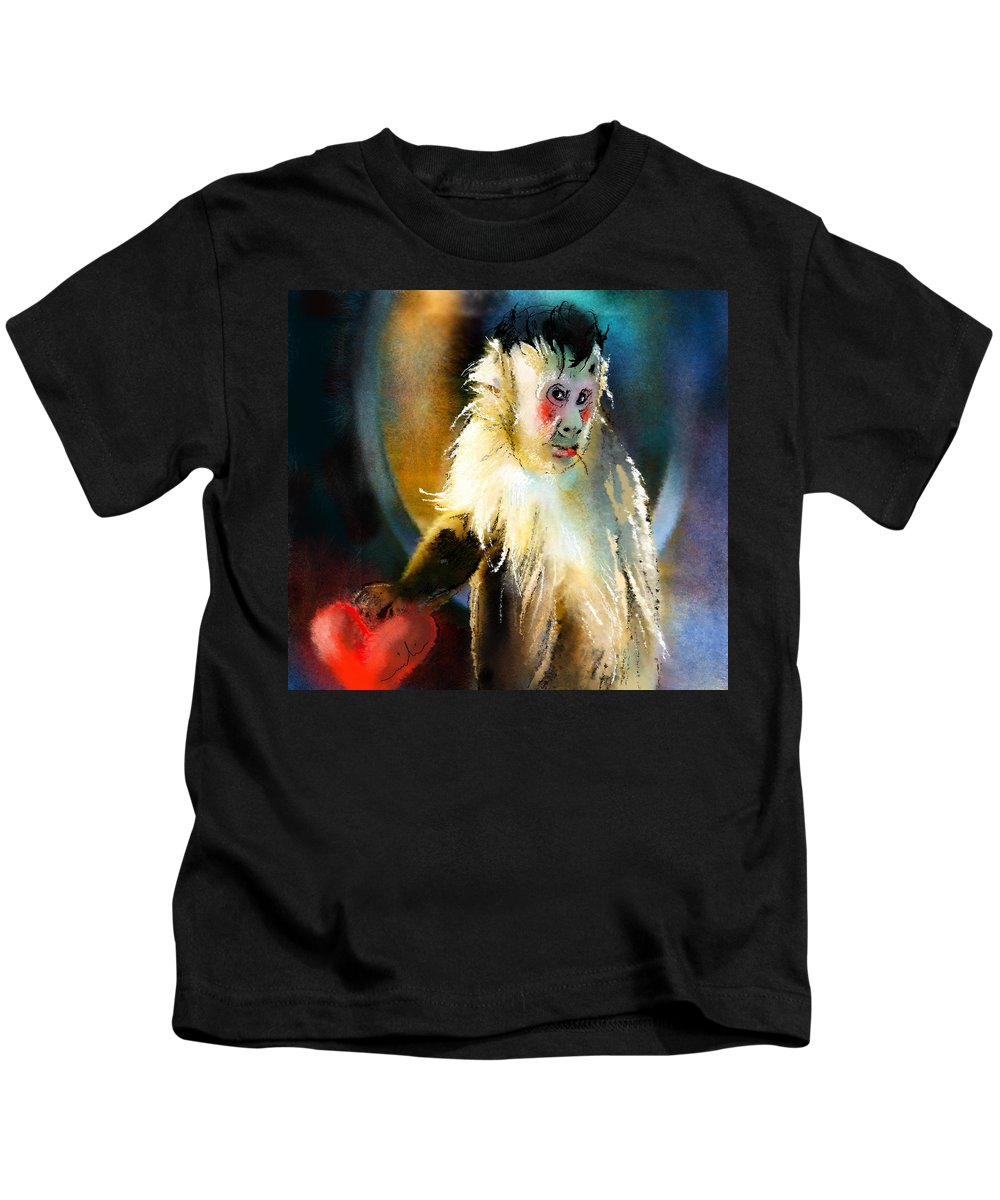 Animals Kids T-Shirt featuring the painting Keep Hold Of My Heart by Miki De Goodaboom