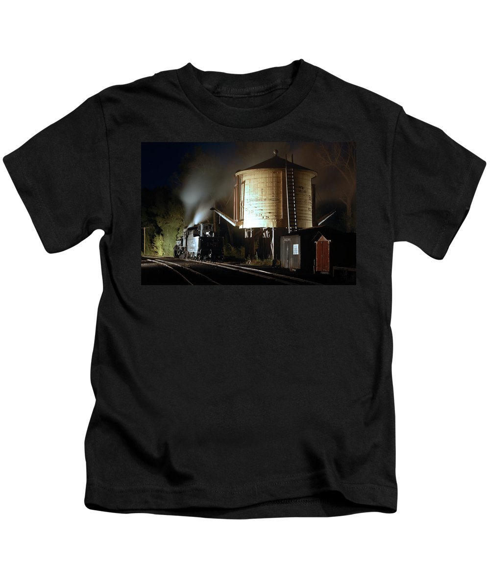 Steam Train Photographs Kids T-Shirt featuring the photograph Late Night Drink by Ken Smith
