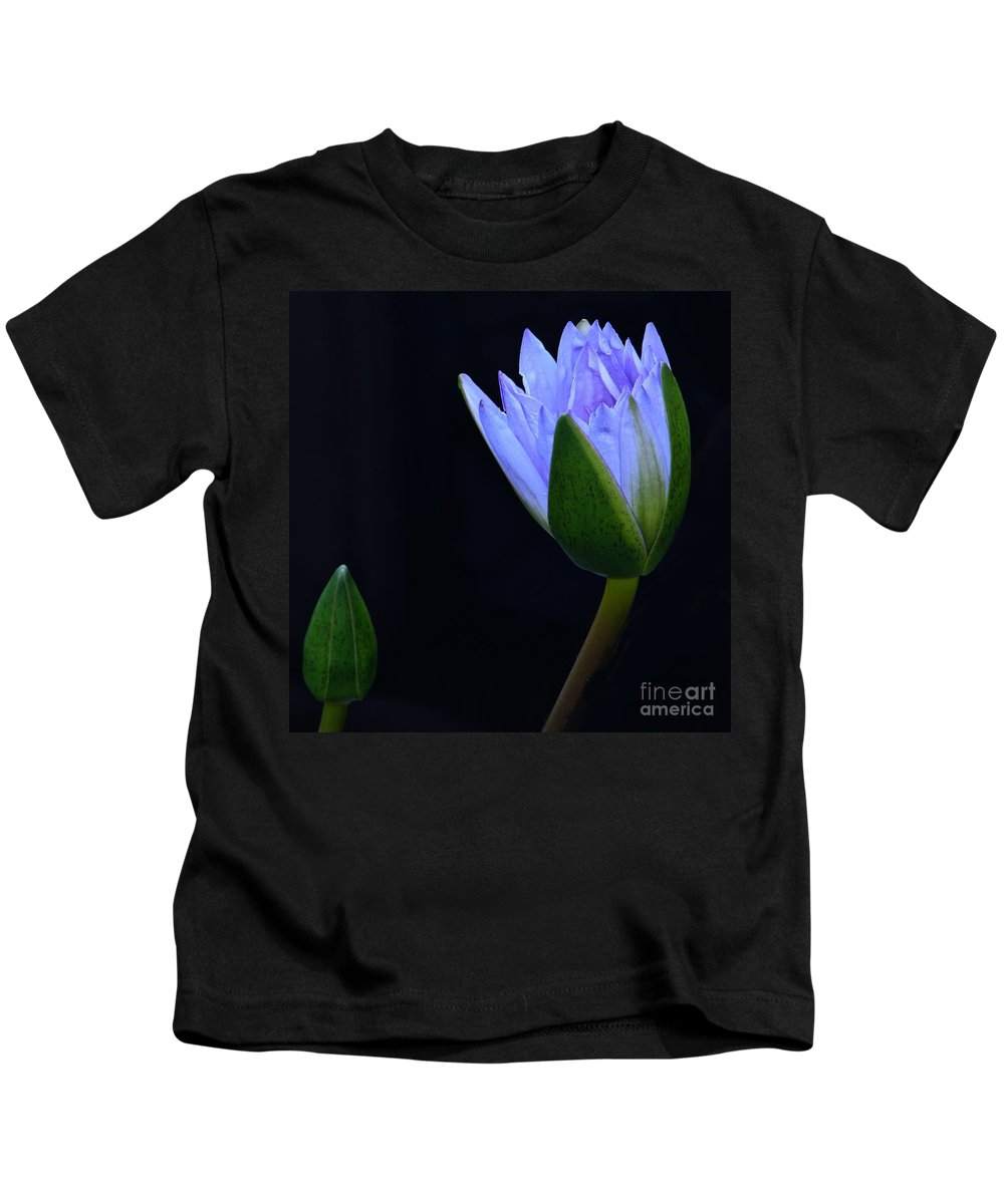 Tropical Water Lily Kids T-Shirt featuring the photograph Lavender Delight by Byron Varvarigos