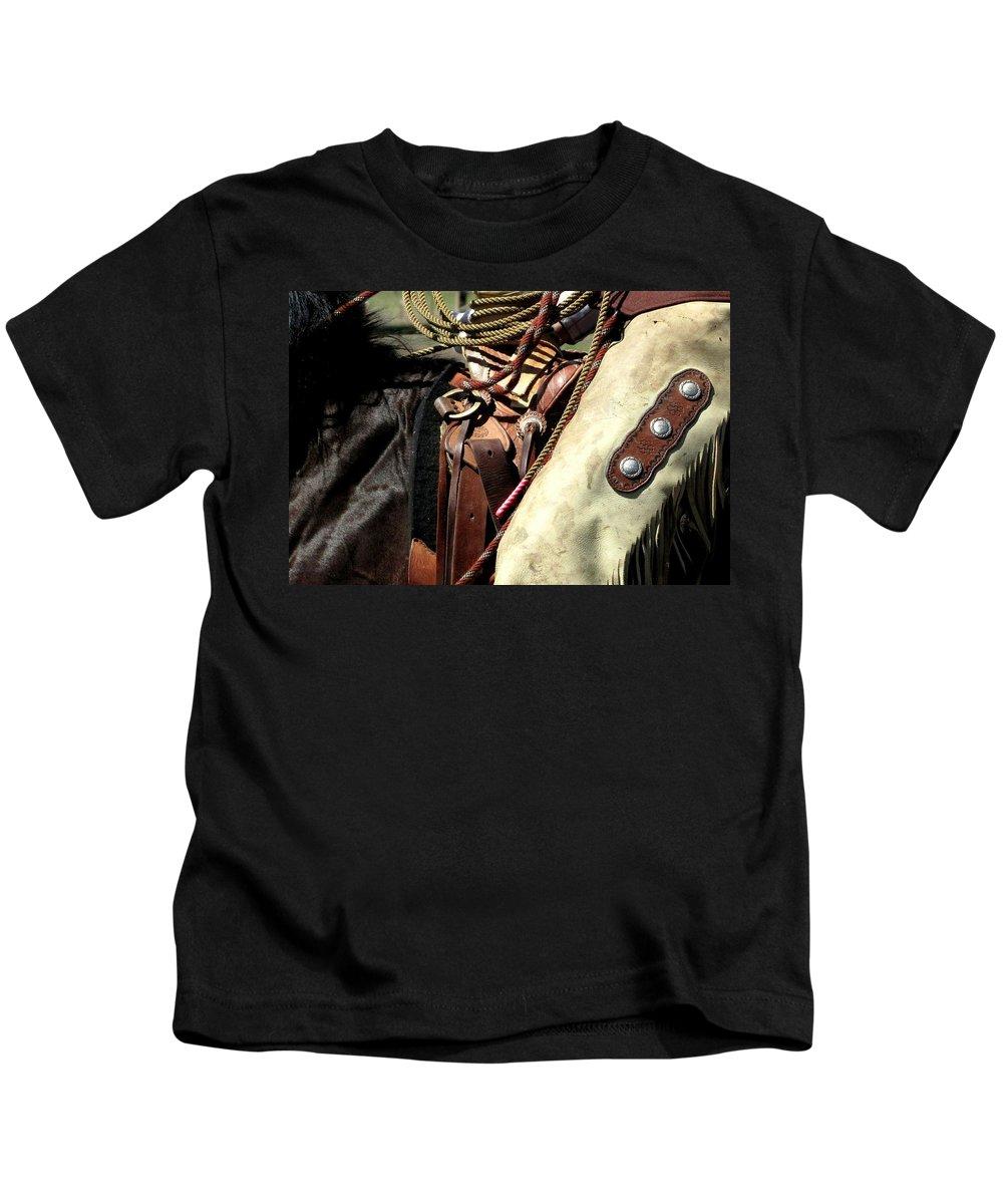 Cowboy Kids T-Shirt featuring the photograph Leather by Judy Garrett