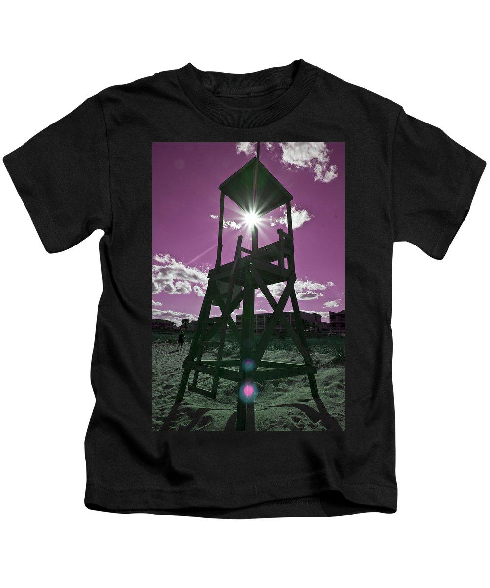 Lifeguard Kids T-Shirt featuring the digital art Lifeguard Tower II by Betsy Knapp