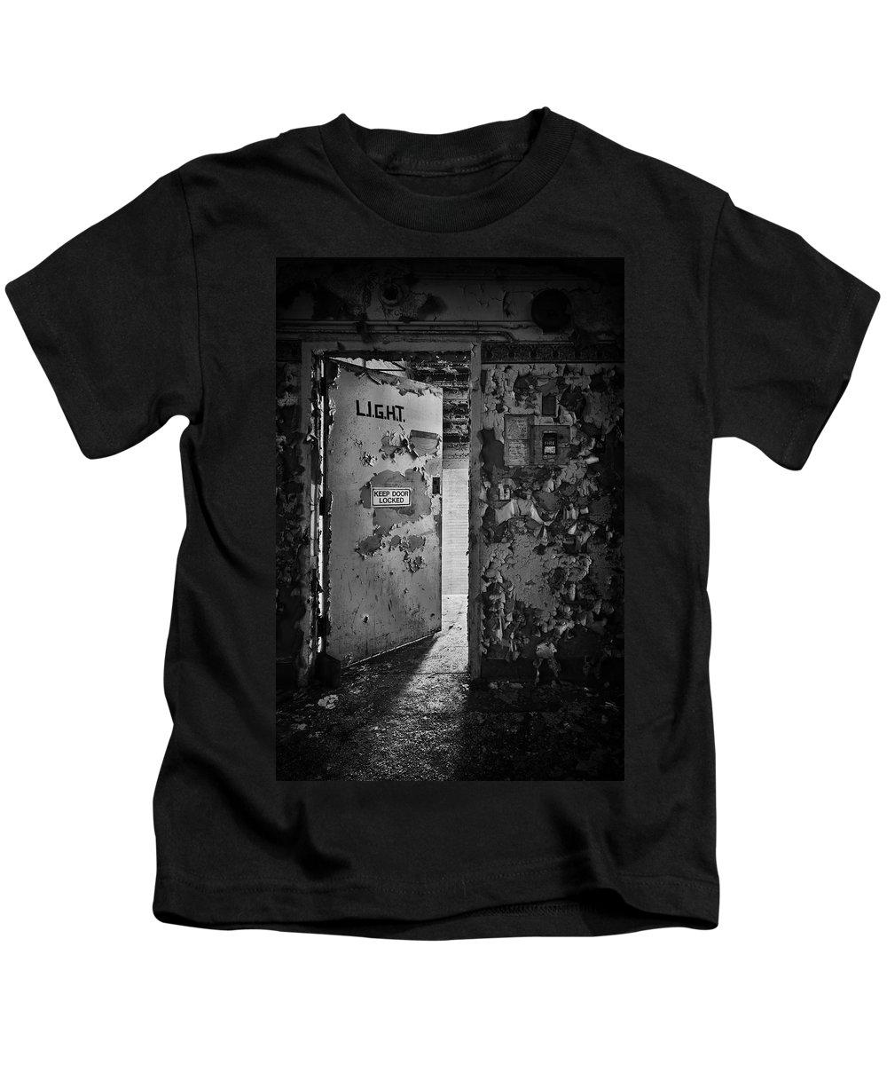 Door Kids T-Shirt featuring the photograph L.i.g.h.t. by Evelina Kremsdorf