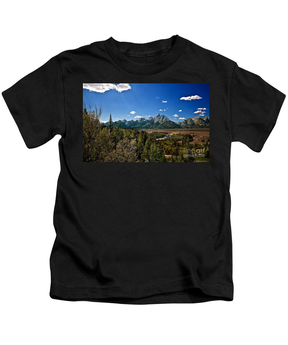Grand Tetons Kids T-Shirt featuring the photograph Light Rays On The Grand Tetons by Robert Bales