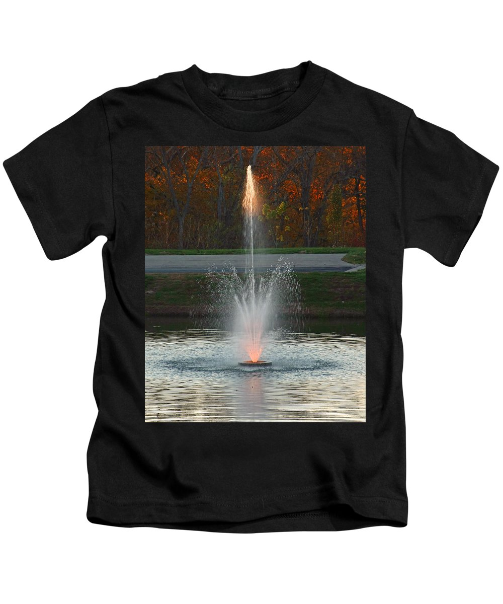 Sun Kids T-Shirt featuring the photograph Lighted Fountain by John Mullins