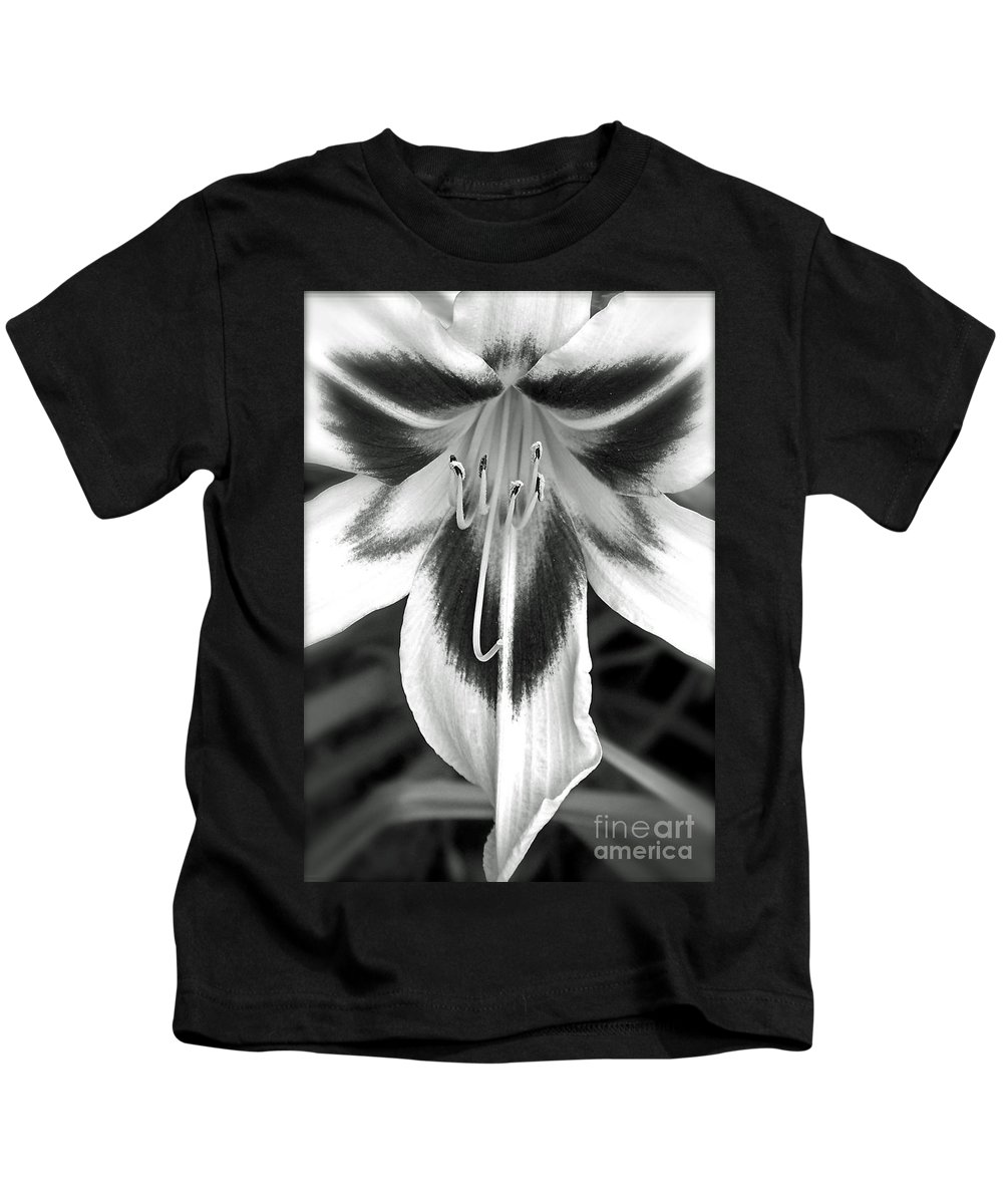 Black And White Photography Kids T-Shirt featuring the photograph Lily Is An Angel II by Sue Stefanowicz