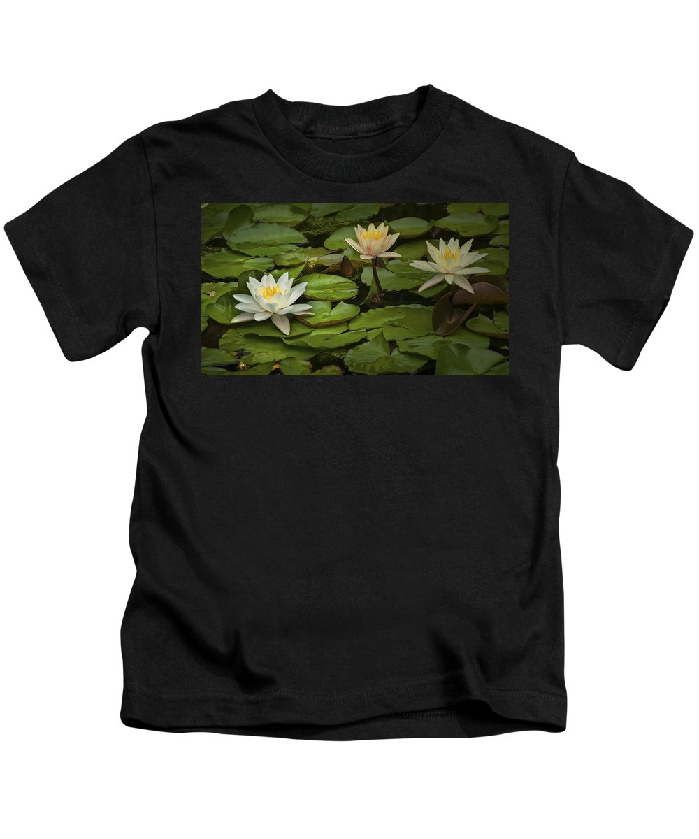 Art Kids T-Shirt featuring the photograph Lily Pads And Blossoms. No204 by Randall Nyhof