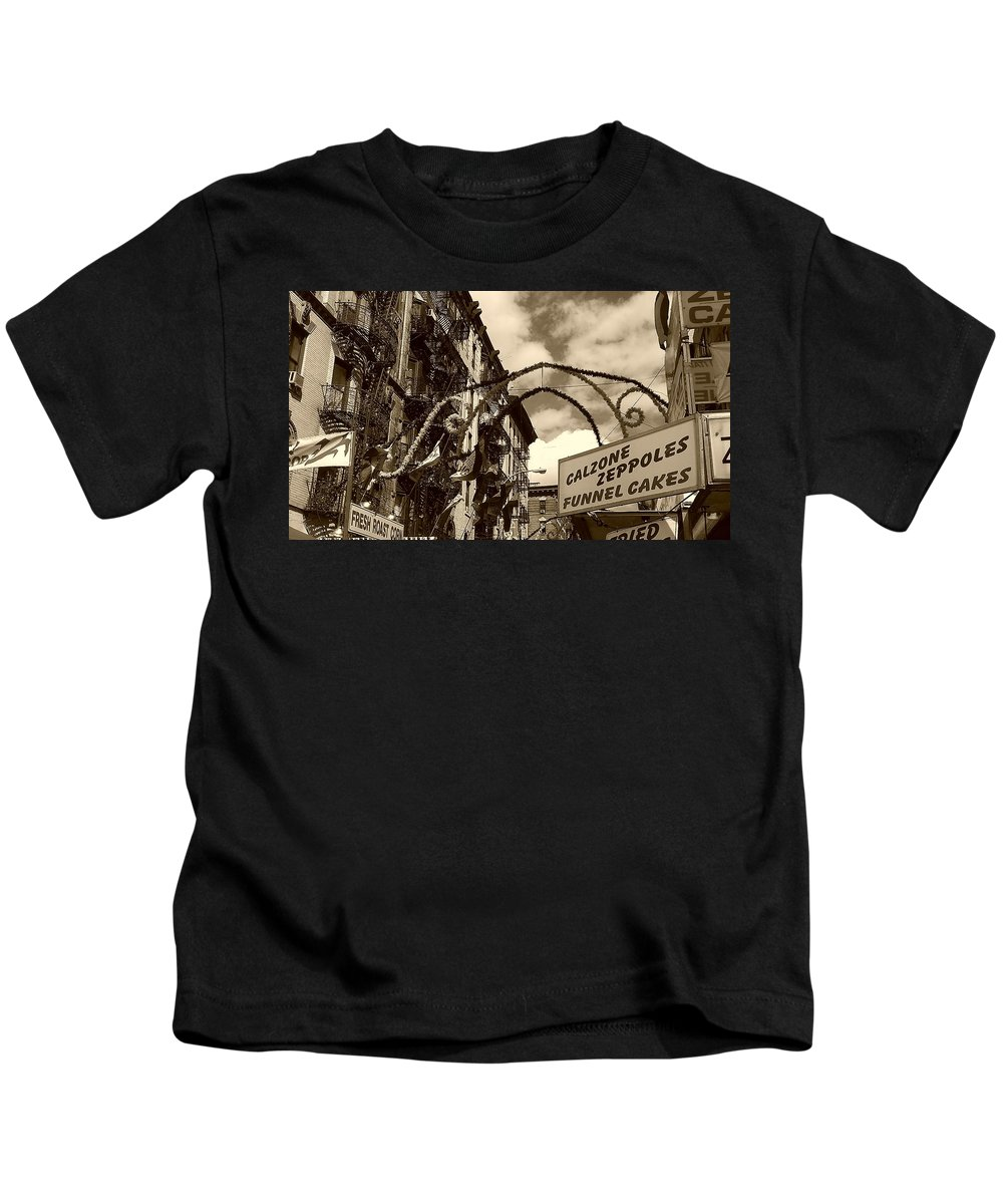 San Gennaro Kids T-Shirt featuring the photograph Little Italy by Catie Canetti