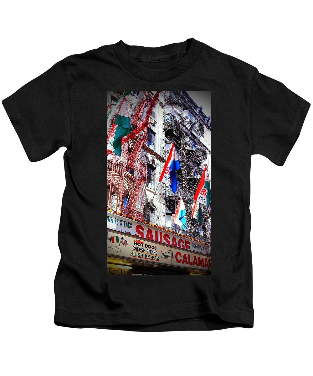 Feast Of San Gennaro Kids T-Shirt featuring the photograph Little Italy in color by Catie Canetti