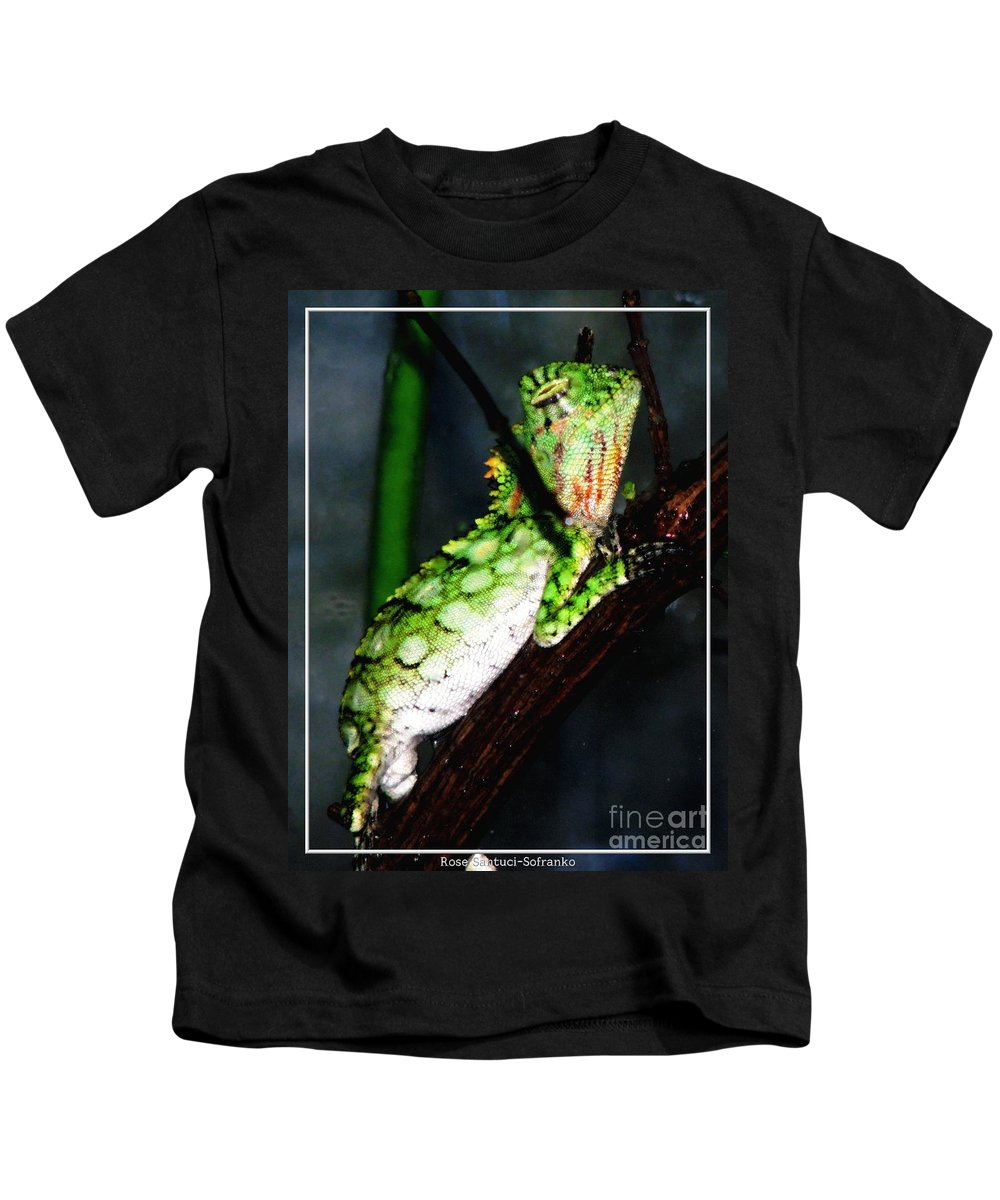 Lizard Kids T-Shirt featuring the photograph Lizard With Oil Painting Effect by Rose Santuci-Sofranko