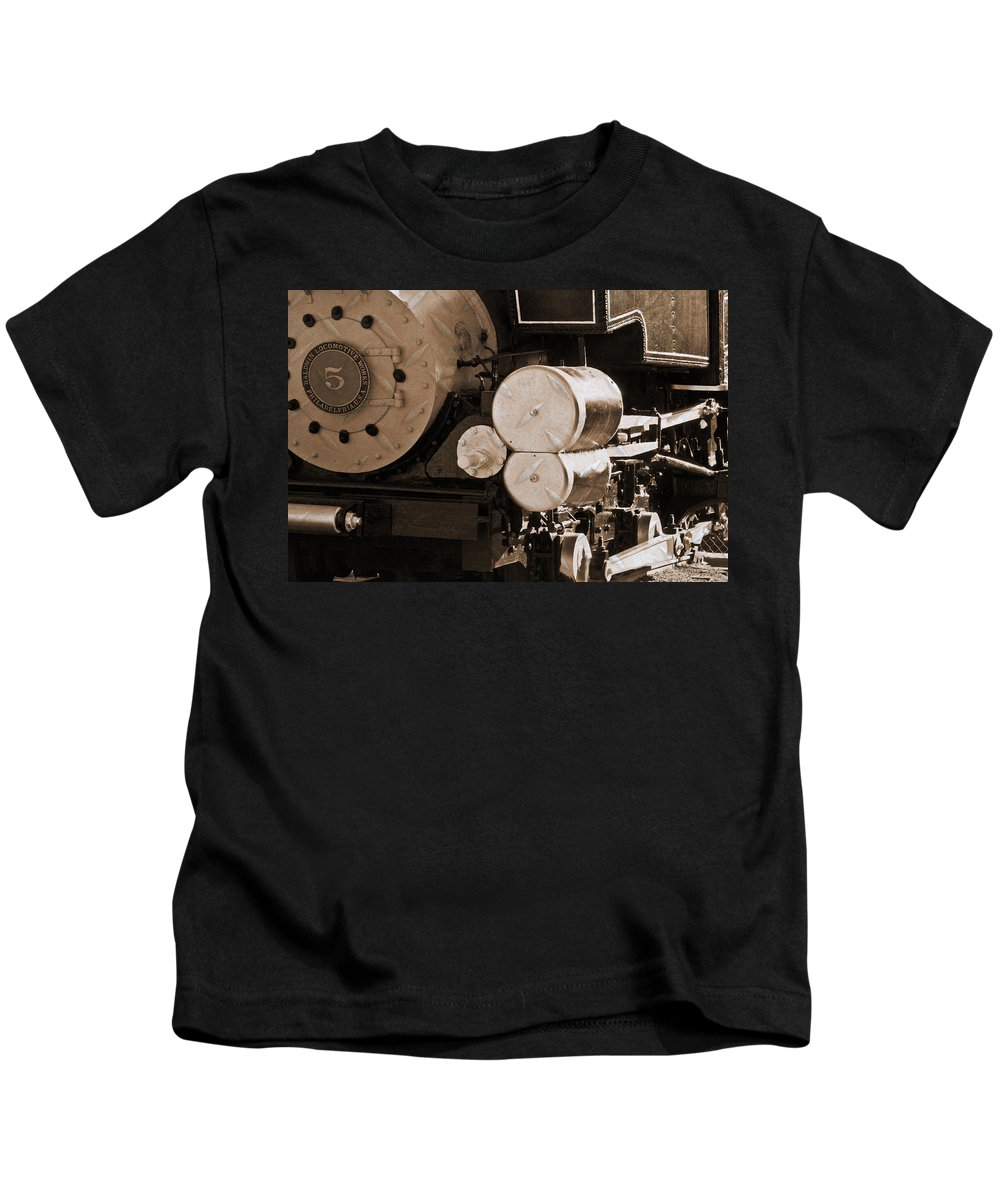 Train Kids T-Shirt featuring the photograph Locomotive No5 Stamped by Colleen Coccia
