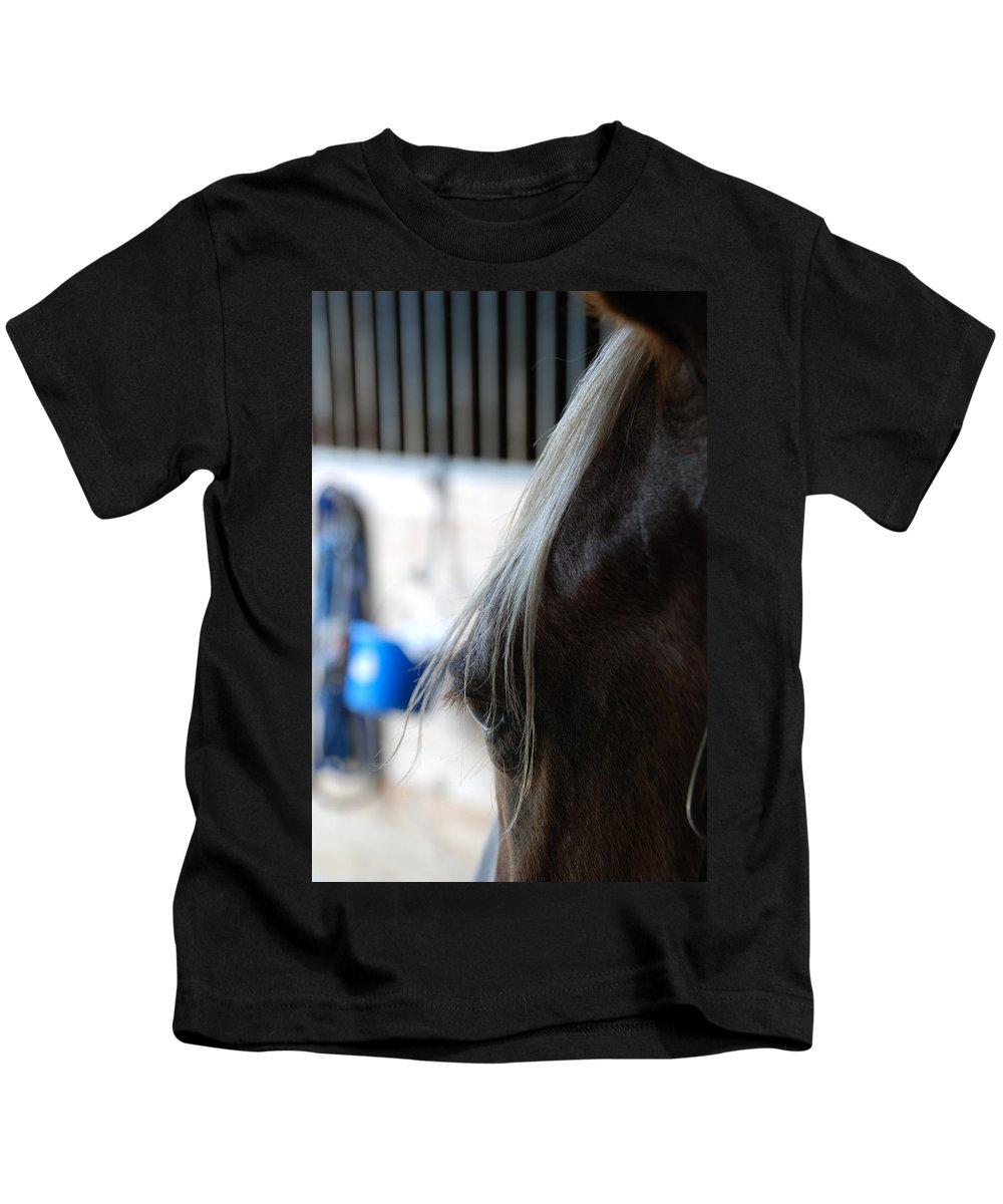Horse Eye Kids T-Shirt featuring the photograph Looking Forward by Jennifer Ancker
