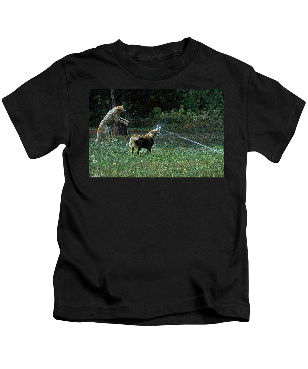 Austalian Cattle Dog Kids T-Shirt featuring the photograph Love To Play by One Rude Dawg Orcutt