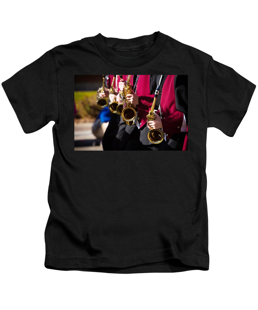 Saxophone Kids T-Shirt featuring the photograph Marching Band Saxophones by James BO Insogna