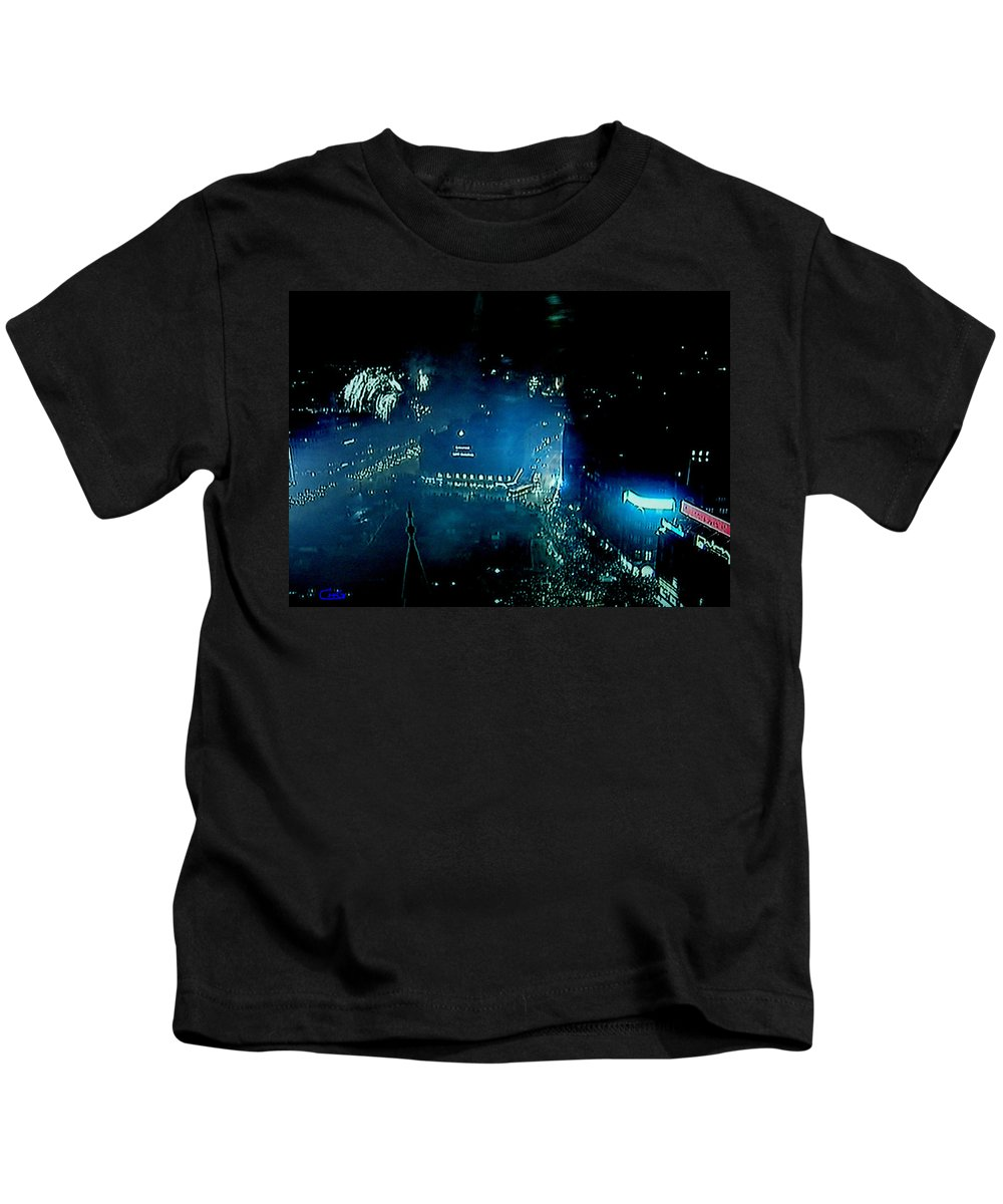 Colette Kids T-Shirt featuring the photograph Midnight Fireworks 1 January Town Hall Copenhagen 2 by Colette V Hera Guggenheim