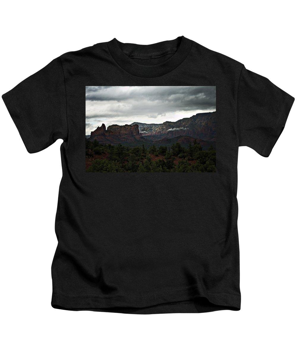 Sedona Kids T-Shirt featuring the photograph Misty Mountain II by Saija Lehtonen