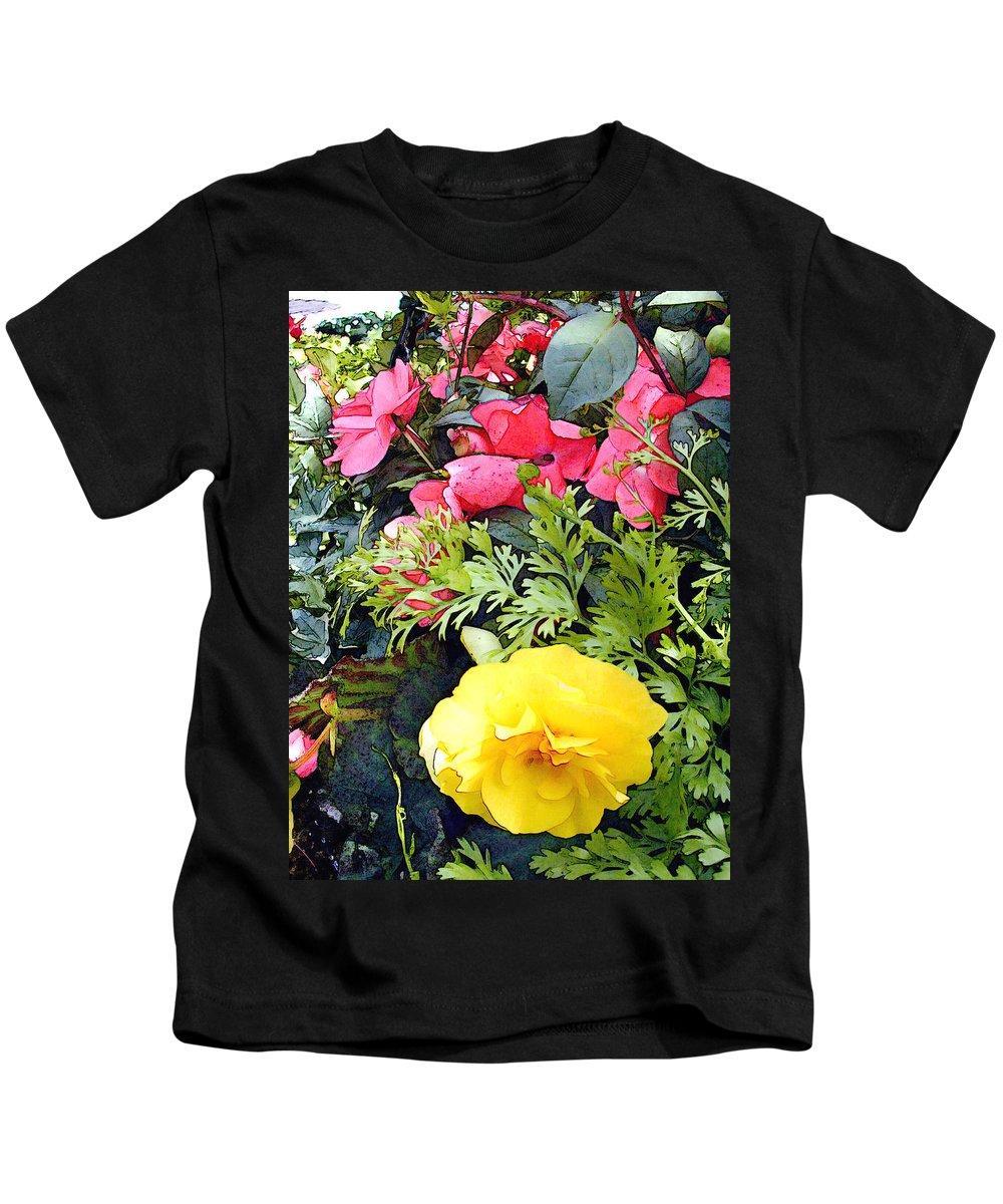 Ranunculus Kids T-Shirt featuring the painting Mixed Ranunculus In A Hanging Basket by Elaine Plesser