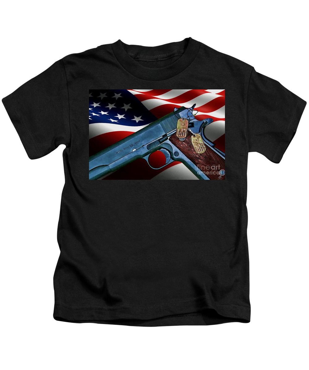Colt Kids T-Shirt featuring the digital art Model 1911-a1 by Tommy Anderson