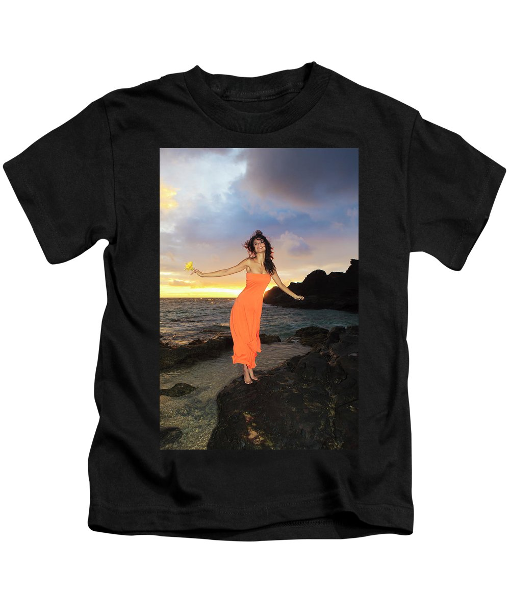 Beach Kids T-Shirt featuring the photograph Model In Orange Dress II by Tomas Del Amo - Printscapes