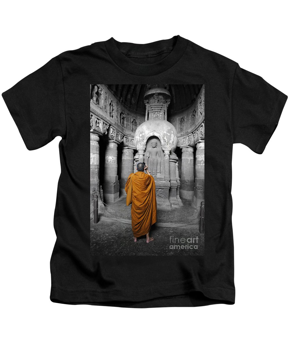 Caves Kids T-Shirt featuring the photograph Monk At Ajanta Caves India by Sumit Mehndiratta