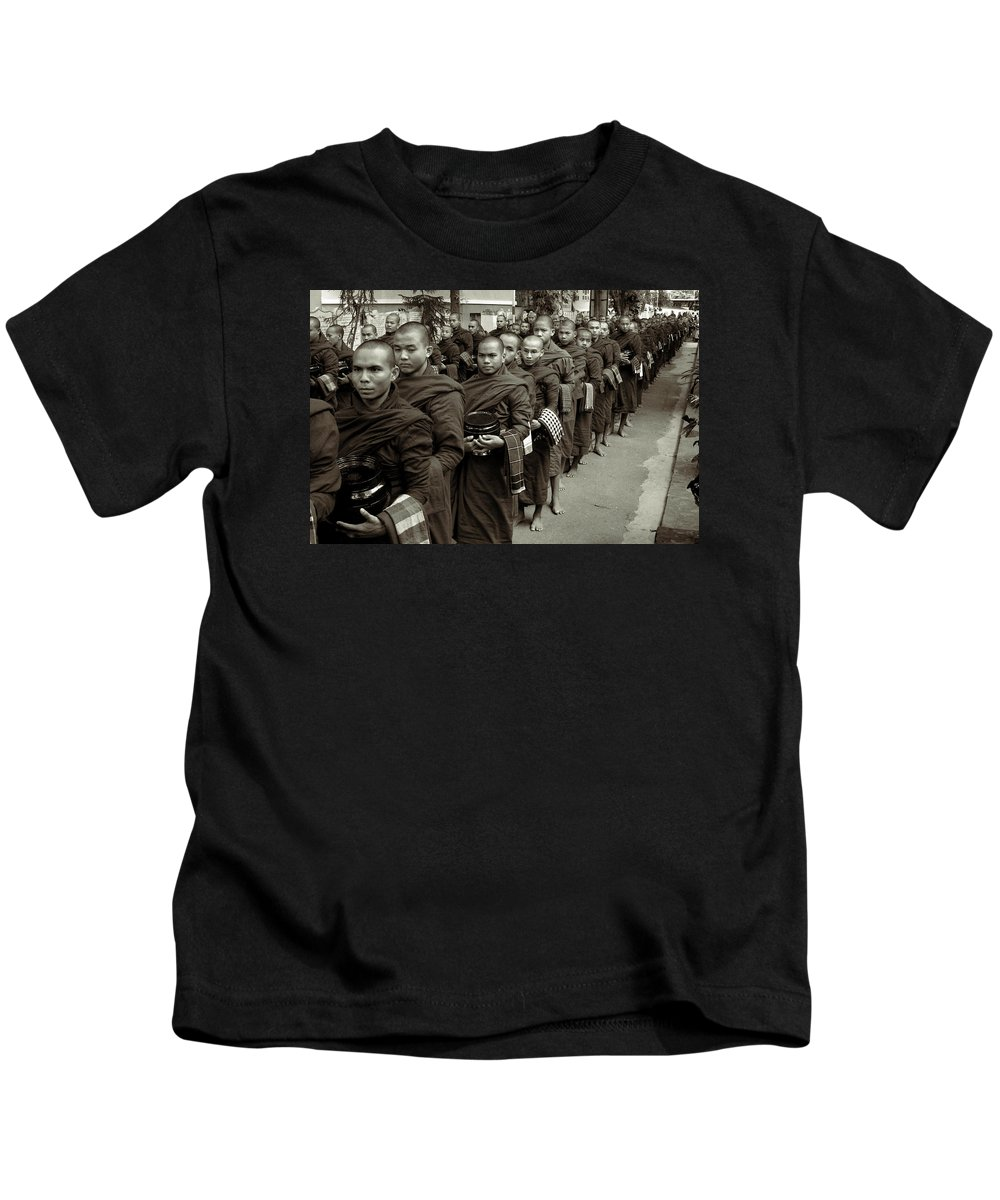 Maha Gandhayon Kyaung Kids T-Shirt featuring the photograph Monks In The Monastery by RicardMN Photography