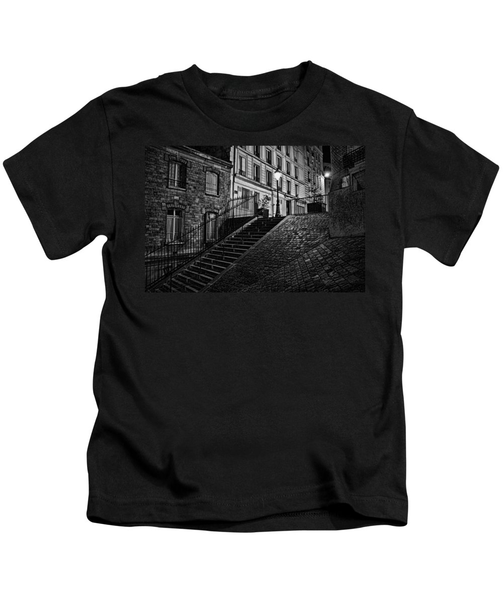 Montmartre After Dark Kids T-Shirt featuring the photograph Montmartre After Dark by Wes and Dotty Weber
