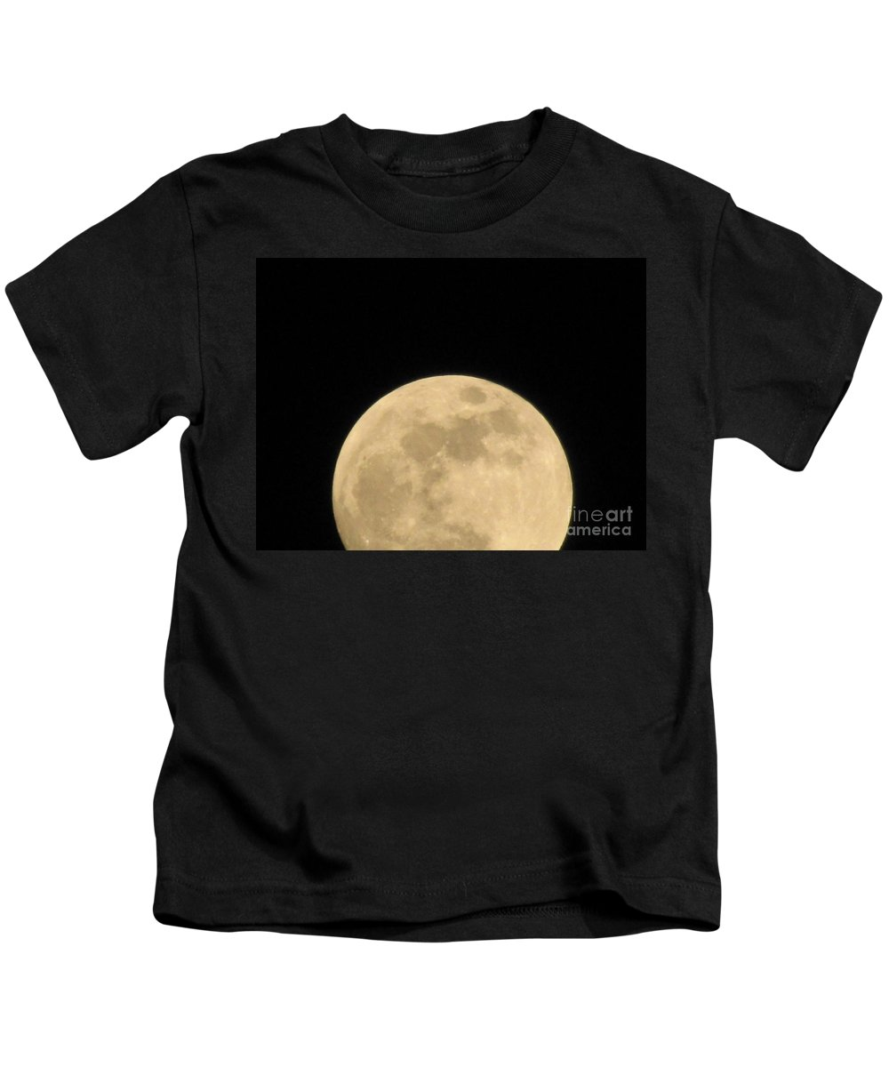 Astronomy Kids T-Shirt featuring the photograph Moon Galaxy Saturn by Michelle Powell