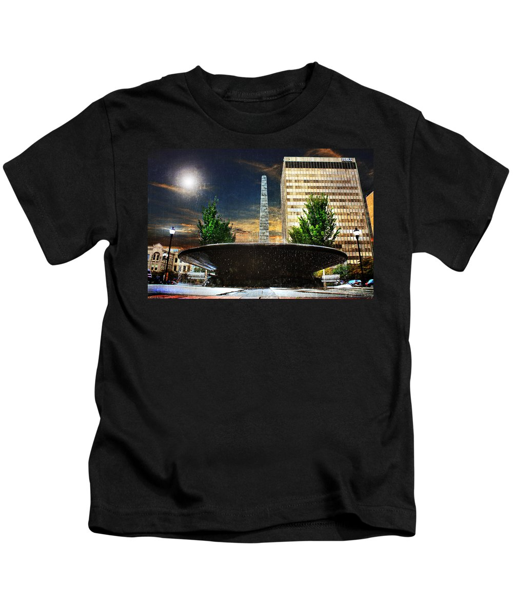 Asheville Kids T-Shirt featuring the photograph Moon Over Asheville by Gray Artus