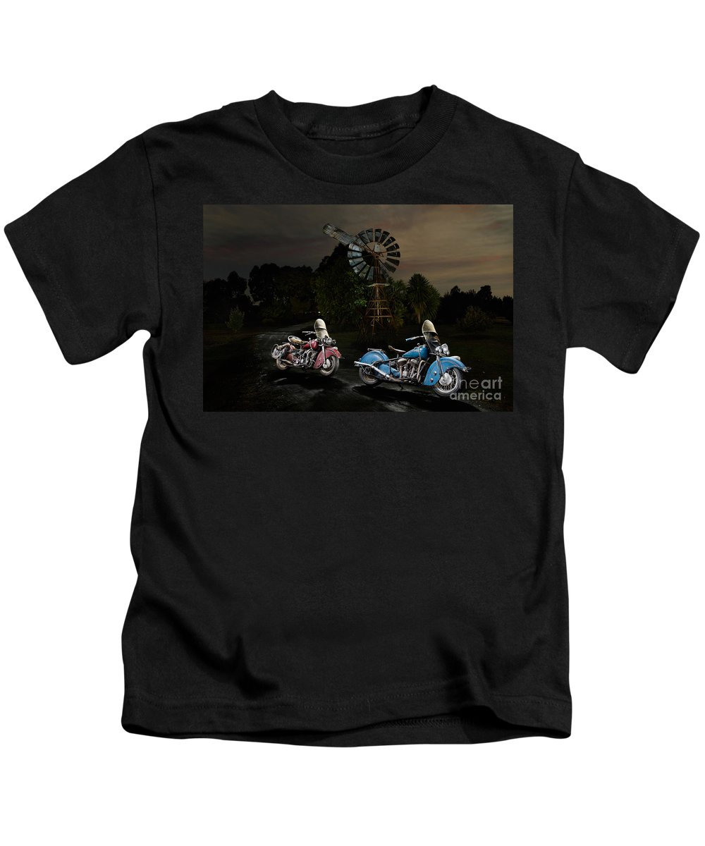 Bike Kids T-Shirt featuring the photograph Moonlight Indian Chief by Frank Kletschkus