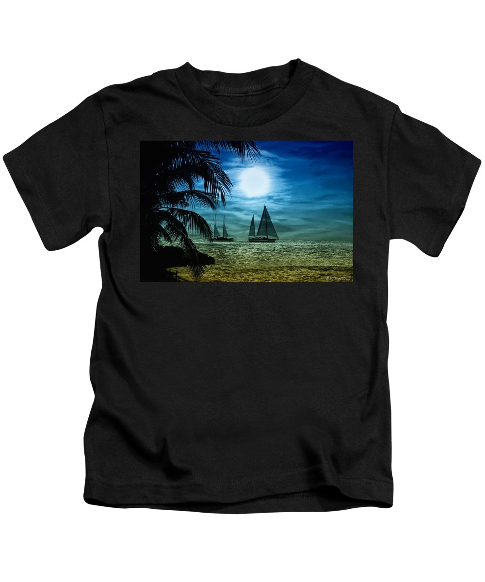 Key West Kids T-Shirt featuring the photograph Moonlight Sail - Key West by Bill Cannon