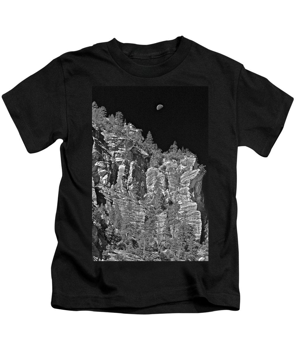 Cliffs Kids T-Shirt featuring the photograph Moonlit Cliffs by Phyllis Denton