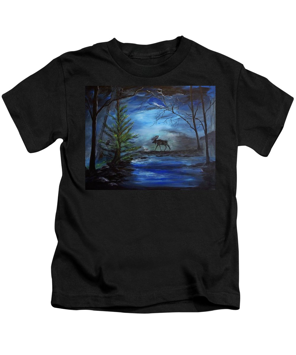 Moose Kids T-Shirt featuring the painting Moose Pond by Leslie Allen
