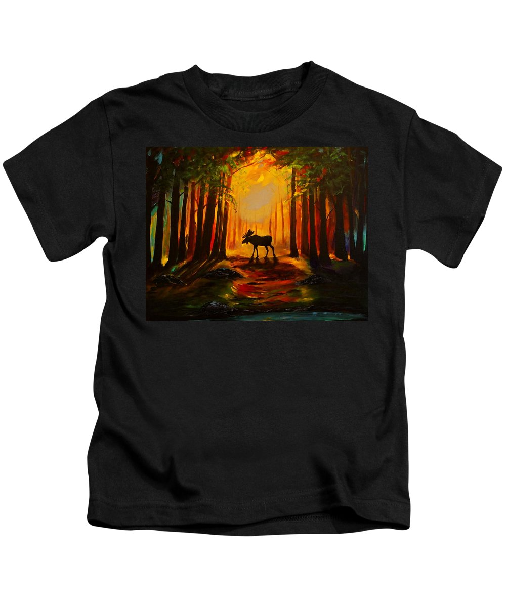 Moose Kids T-Shirt featuring the painting Moose Sunset by Leslie Allen