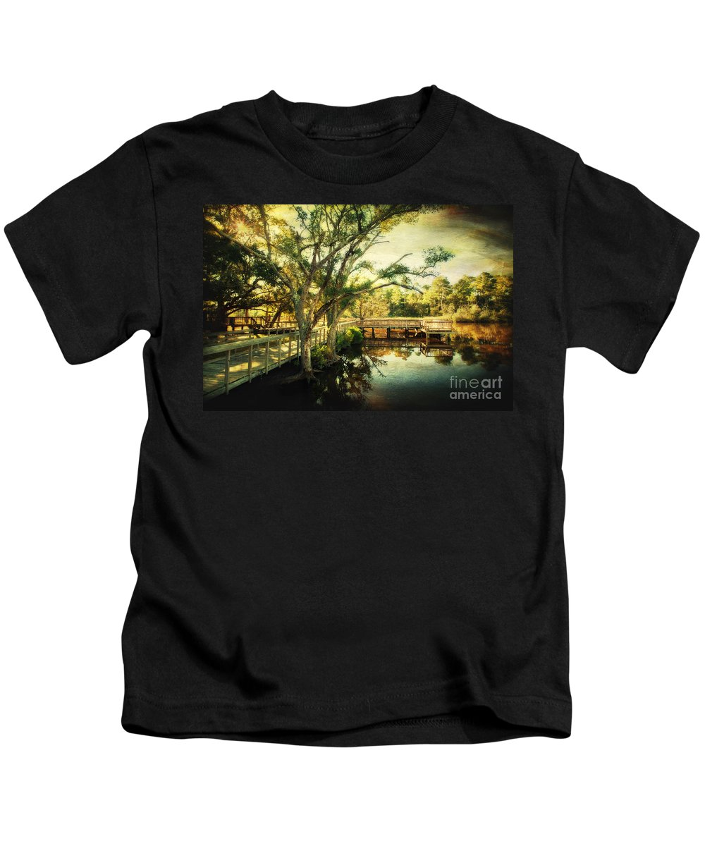 Ocean Springs Kids T-Shirt featuring the photograph Morning At The Harbor Park by Joan McCool
