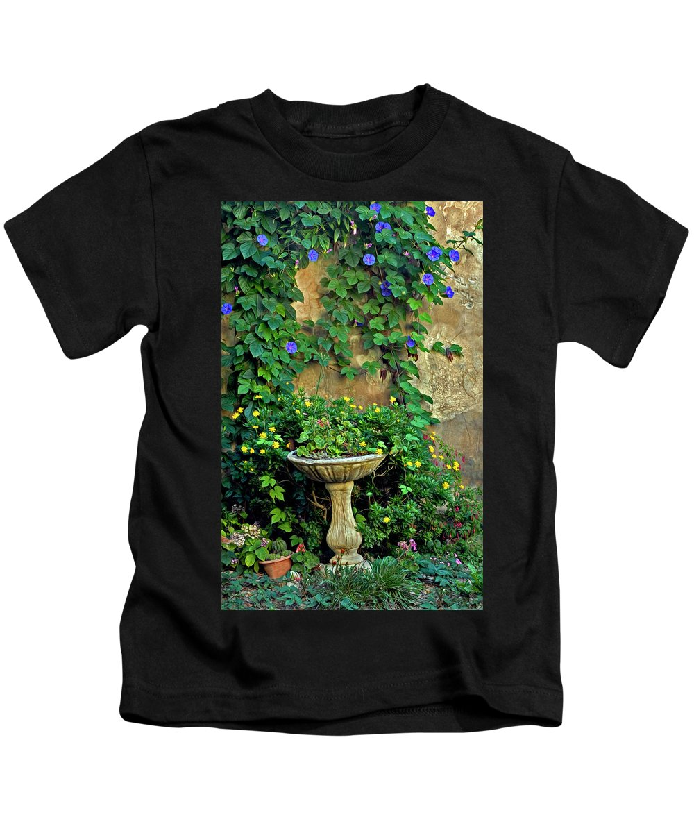 Morning Glory Kids T-Shirt featuring the photograph Morning Glory Garden In Provence by Dave Mills