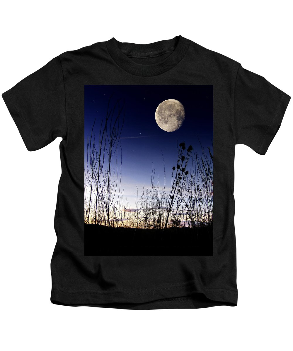 Morning Moon Landscape Fantasy Sky Space Silhouette Art Photo Photography Digital Jdfielding Kids T-Shirt featuring the photograph Morning Moonscape by JD Fielding