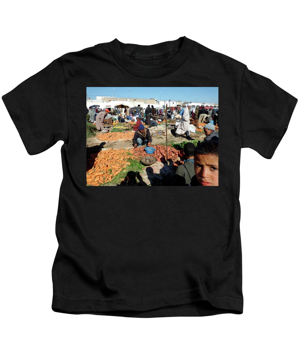 Travel Kids T-Shirt featuring the photograph Moroccan Market Photo 01 by Miki De Goodaboom