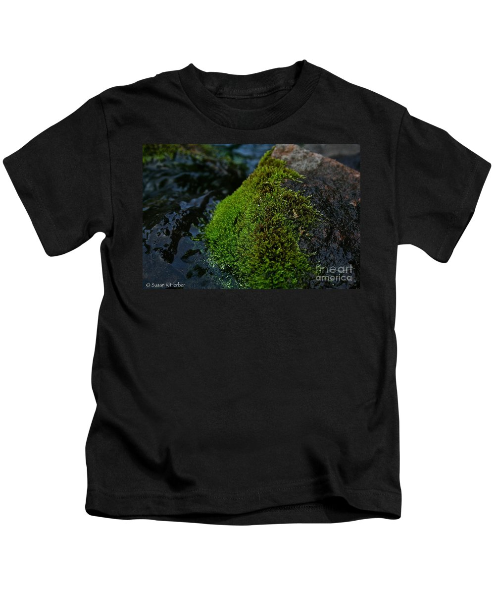 Outdoors Kids T-Shirt featuring the photograph Mossy River Rock by Susan Herber