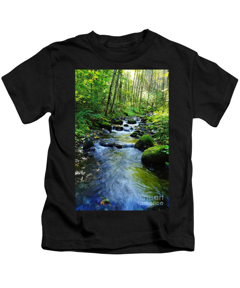 Water Kids T-Shirt featuring the photograph Mossy Rocks And Water  by Jeff Swan