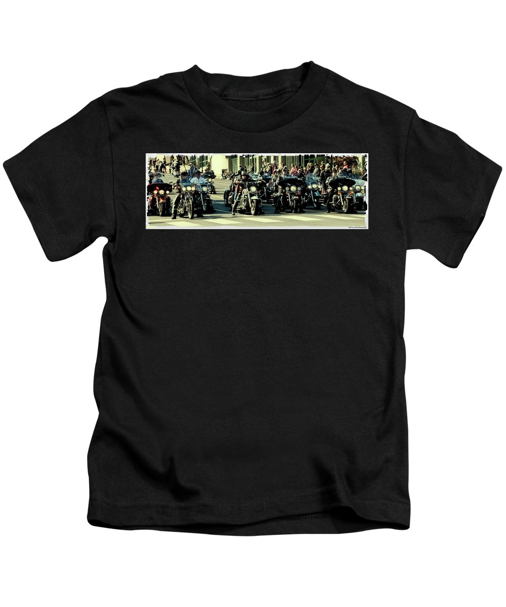 Motorcyles Kids T-Shirt featuring the photograph Motley Crew by Sheri Bartoszek