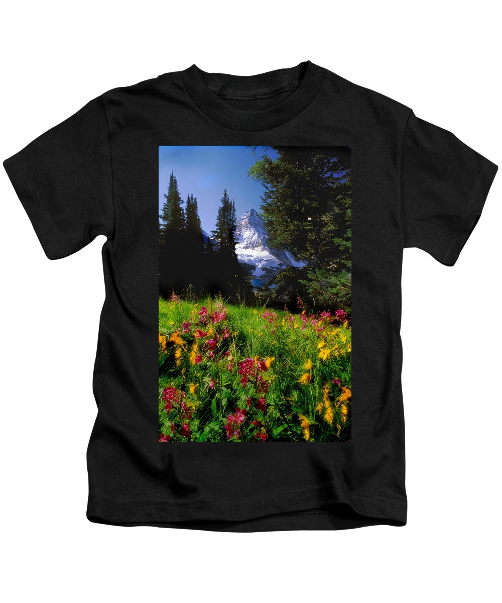 Alpines Kids T-Shirt featuring the photograph Mount Assiniboine by Jerry Kobalenko