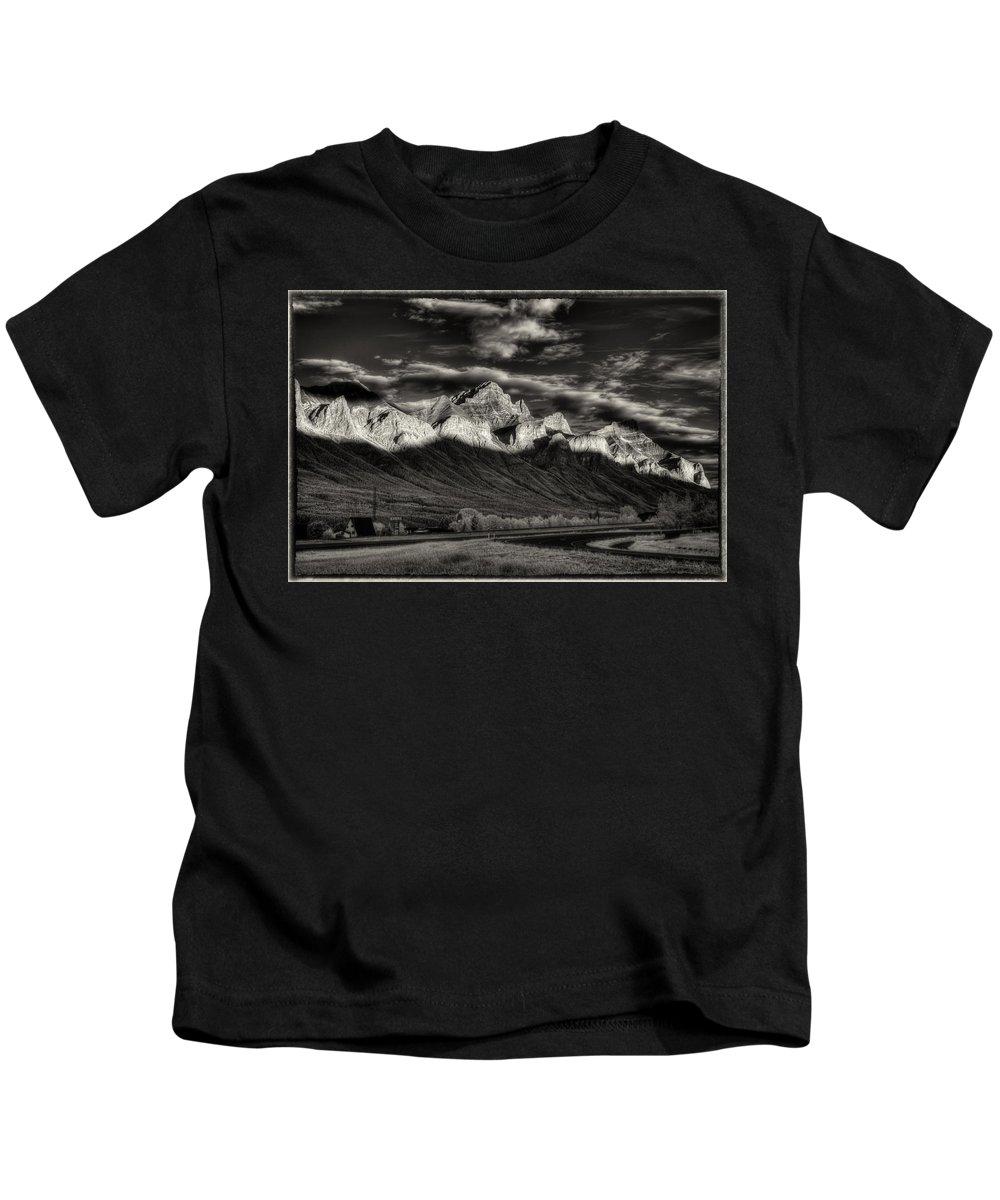Mountain Range Kids T-Shirt featuring the digital art Mountain Canmore by Diane Dugas