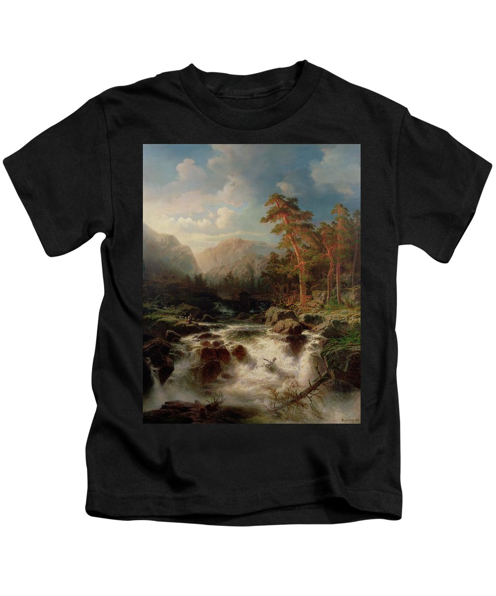 Mountain Torrent Kids T-Shirt featuring the painting Mountain Torrent Smaland by Marcus Larson