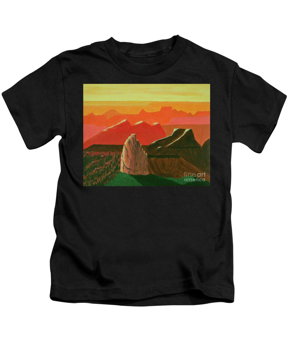Mt Hayden Kids T-Shirt featuring the painting Mt Hayden by Don Monahan