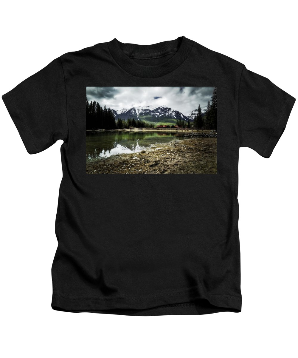 Muleshoe Pond Kids T-Shirt featuring the digital art Muleshoe Pond Train by Diane Dugas