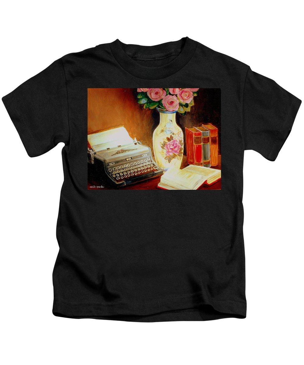 Typewriters Kids T-Shirt featuring the painting My Classic Royal Typewriter Memories Of Hemingway  by Carole Spandau