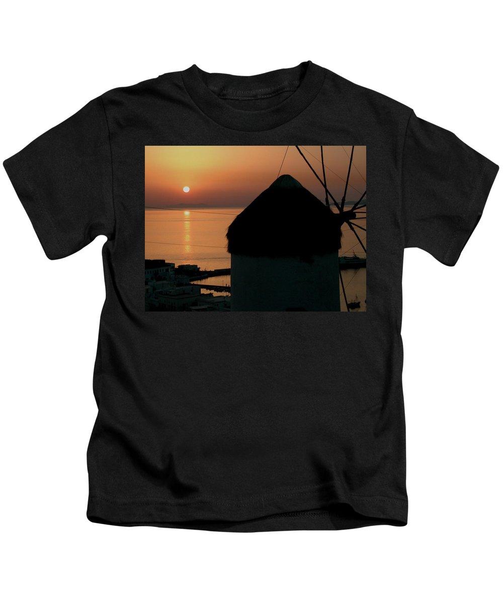 Colette Kids T-Shirt featuring the photograph Mykonos Island Sunset Greece by Colette V Hera Guggenheim