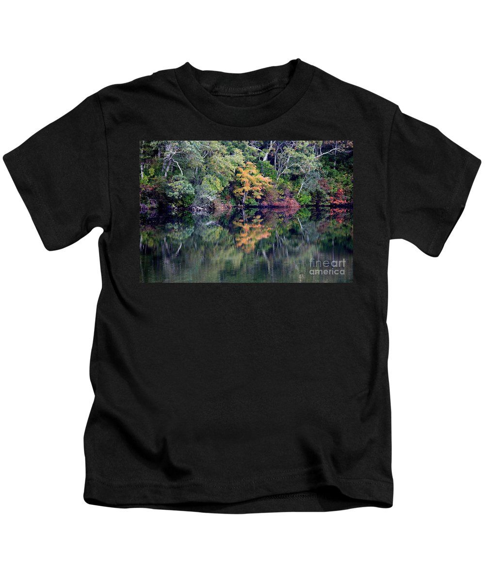 Fall Foliage Kids T-Shirt featuring the photograph New England Fall Reflection by Carol Groenen