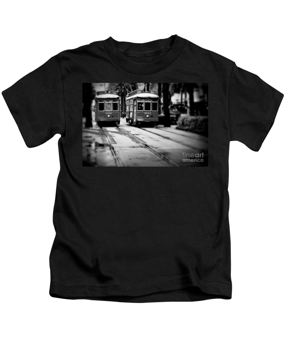 New Orleans Kids T-Shirt featuring the photograph New Orleans Classic Streetcars. by Perry Webster