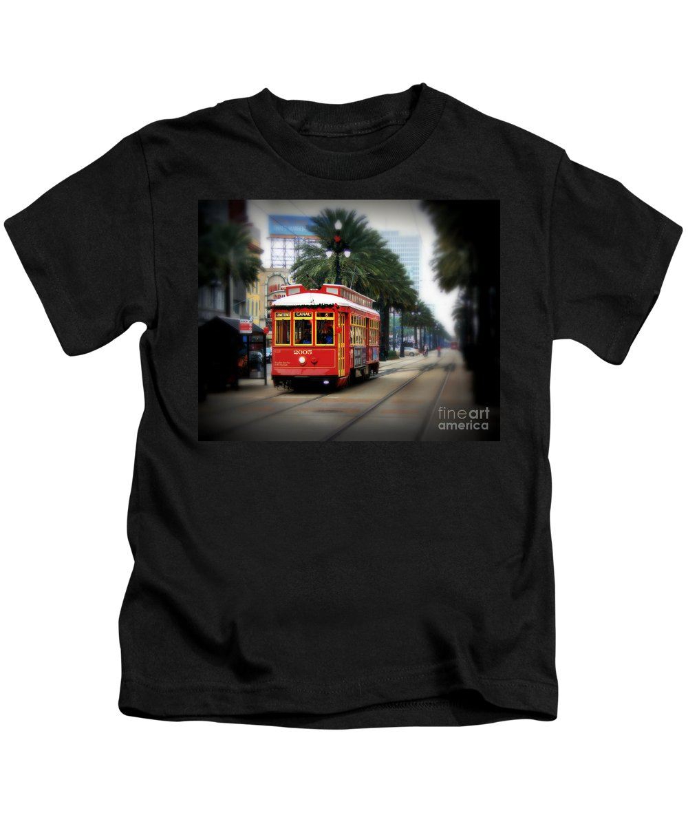 New Orleans Kids T-Shirt featuring the photograph New Orleans Streetcar by Perry Webster